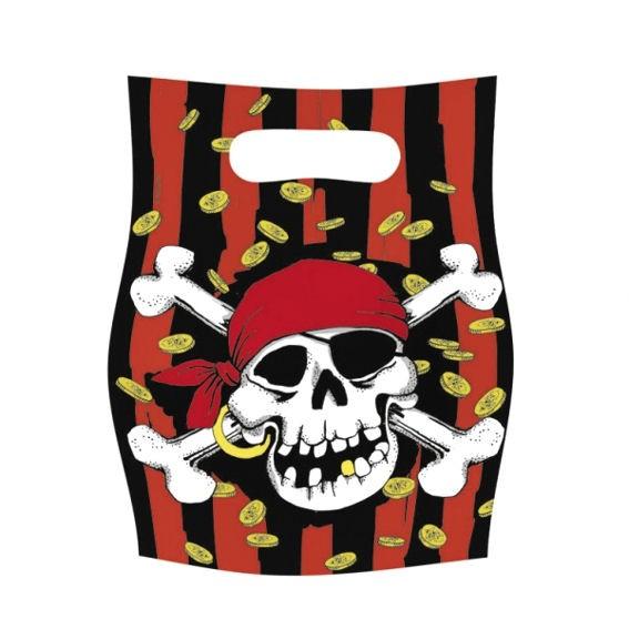 'Jolly Roger' Party-Tüten / Mitbringseltüte / Kunststoff-Beutel, 6er-Pack.