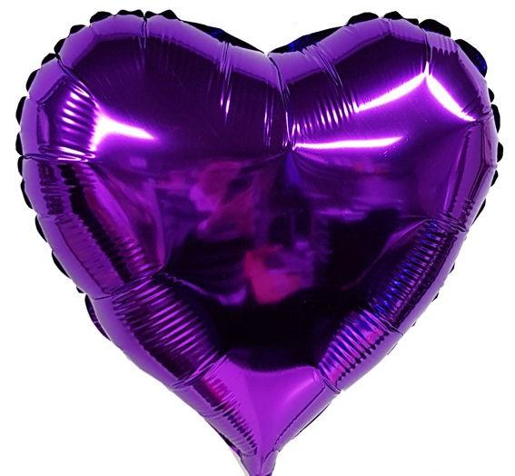 """Folien-Herzballon (A), ca. 18"""" / 45 cm Ø, violett"""