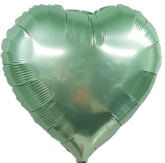 "Folien-Herzballon (A), ca. 18"" / 45 cm Ø, lindgrün"