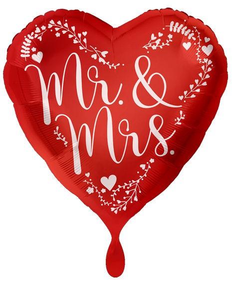 Folien-Herzballon 'Mr. & Mrs. - rot' ca. 43 cm Ø, ohne Gasfüllung