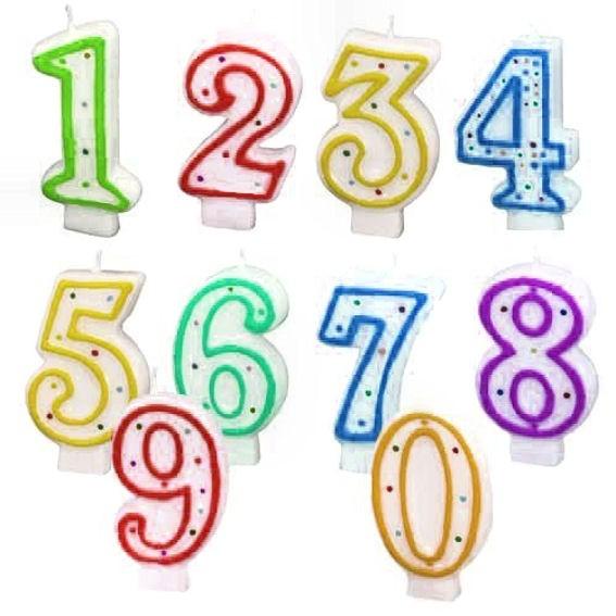 Party-Zahlen-Kerzen, verschiedene Motive und Farben