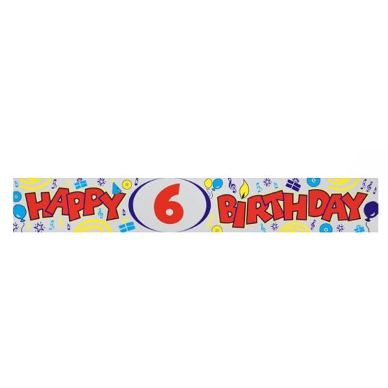 'Happy 6th Birthday'-Banner, ca. 270 cm lang