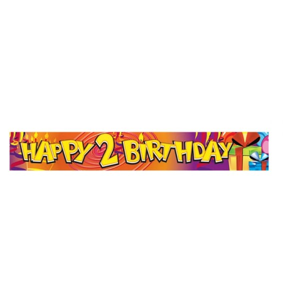 'Happy 2nd Birthday'-Banner, ca. 270 cm lang