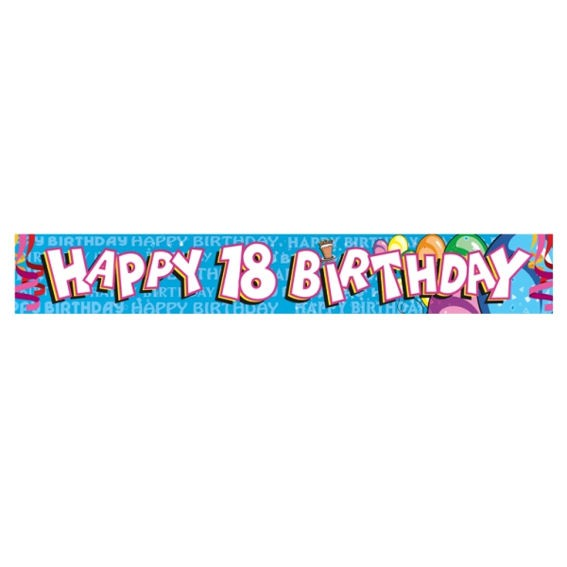 'Happy 18th Birthday', Banner, blau, ca. 270 cm lang