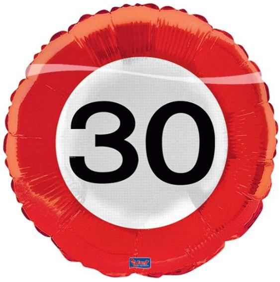 Folien-Rundballon 'Verkehrszeichen 30', ca. 43 cm Ø, verschiedene Ausführungen