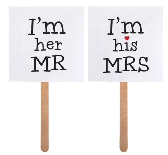 'Schilder - I'm his MRS / I'm her MR' im 2er-Pack., 9 x 9 cm, Papierartikel auf