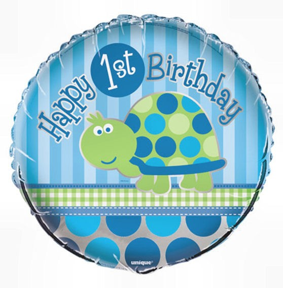 Folien-Rundballon 'Happy 1st Birthday - Turtle', ca. 45 cm Ø, verschiedene Ausfü