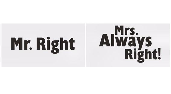 'Schilder - Mr. Right / Mrs. Always Right!' im 2er-Pack., 14 x 27 cm, Papier