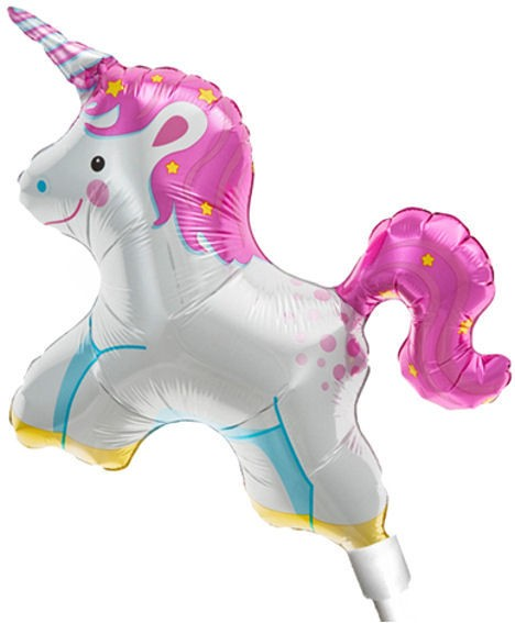 Folienballon-Stecker 'Unicorn / Einhorn' zum selbstaufblasen