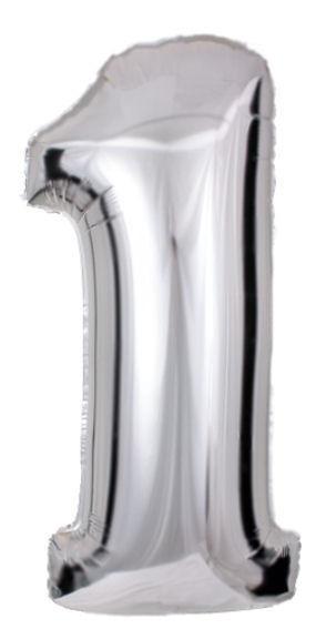 Folien-Zahlenballon (G), silber - XXL - 1, Gas geeignet
