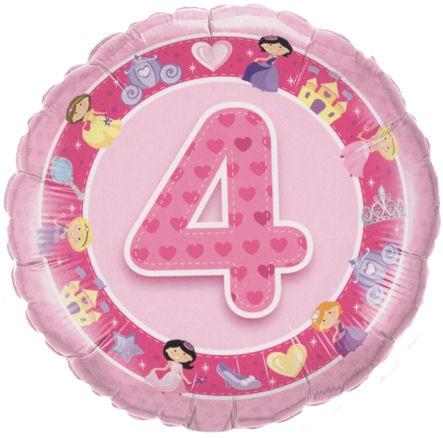 Folien-Rundballon '4. Geburtstsg - Prinzessin', pink, ca. 45 cm Ø, verschiedene