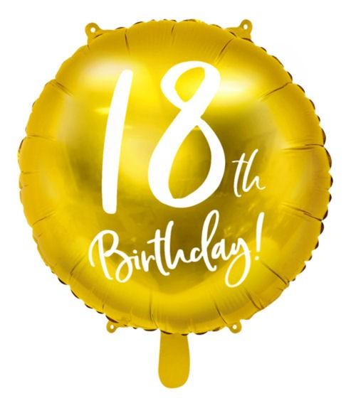 Folien-Rundballon (A) '18th Birthday! - gold', ca. 45 cm