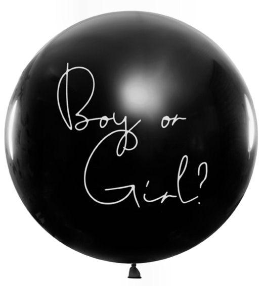 Ballon-Set Boy or Girl? schwarzer Ballon mit pinkem Konfetti
