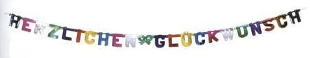 'Herzlichen Glückwunsch' Schriftzug-Girlande, ca. 230 cm