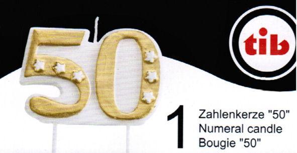 Jubiläumskerze '50' auf Plastikpick, goldfarben