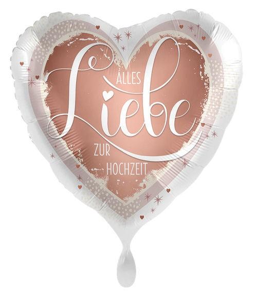 Folien-Herzballon (A) 'Alles Liebe zur Hochzeit', ca. 43 cm