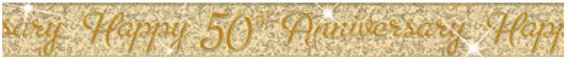 '50th Anniversary'-Banner, gold, holo, ca. 3,65 m lang