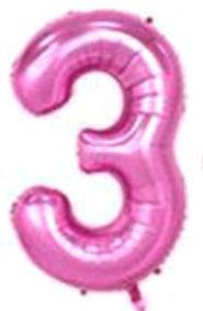 Folien-Zahlenballon (G), pink - XXL - 3, Gas geeignet