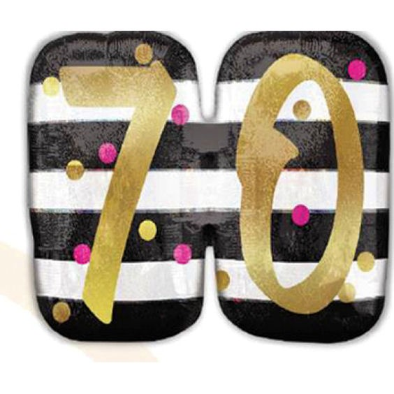 Folien-Zahlenballon (G) 'Pink & Gold Milestone 70', ca. 63 cm