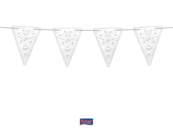 'Kommunion' Deluxe Wimpelkette, perl-weiß, seidenglanz