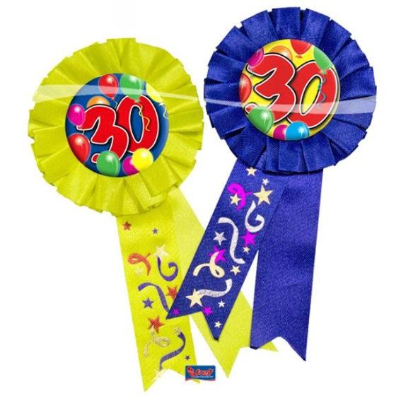'Rosette 30 - Ballons' mit Nadel, ca. 15 cm lang, in blau oder gelb