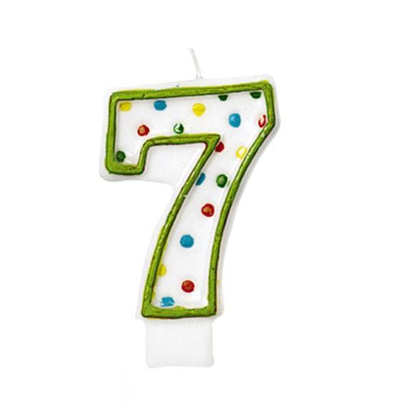 '7 - Polka Dots' Party-Zahlen-Kerze
