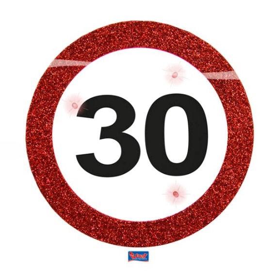 'Verkehrszeichen 30' LED Party Button, mit Nadel + Aufsteller, II. WAHL