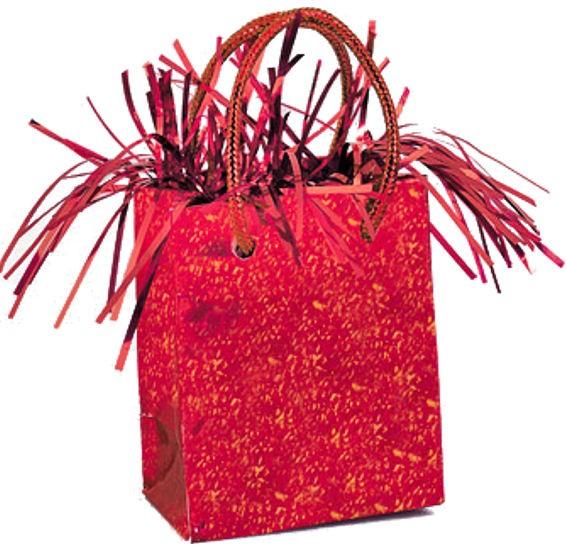 Mini Geschenktasche-Ballongewicht, rot-prismatic, ca. 180 gr. schwer
