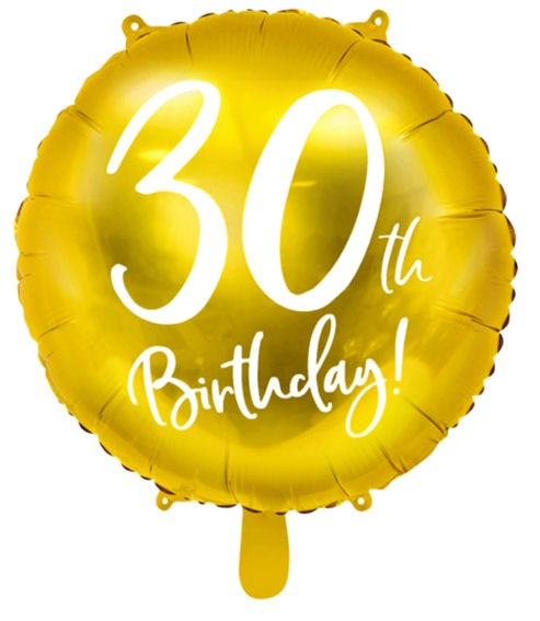 Folien-Rundballon '30th Birthday - gold', ca. 45 cm