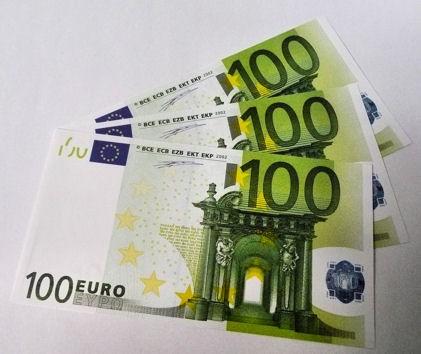 1 Stück '100er Euro-Ersatz-Schein' 125%, einseitig, Spielgeld