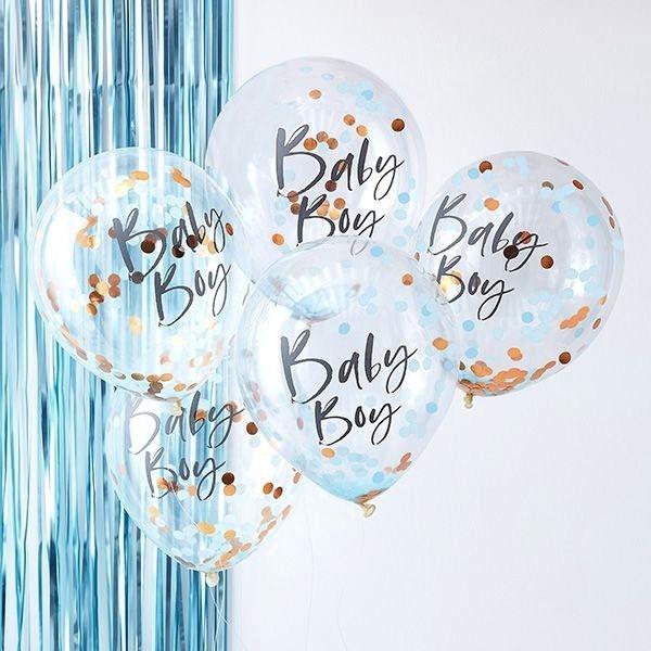 "'Confetti-Balloons' 12"", 5 transp. Ballons mit rosegold + hellblau Konfetti"