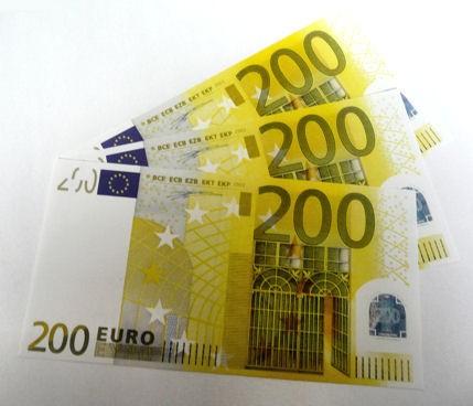 1 Stück '200er Euro-Ersatz-Schein' 125%, einseitig, Spielgeld
