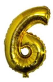 Folien-Zahlenballon (G), gold - XXL - 6, Gas geeignet