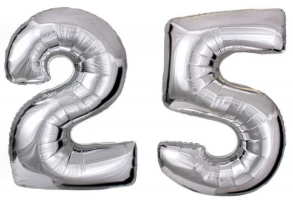 Folien-Zahlenballons (G), silber - XXL - 25, Gas geeignet