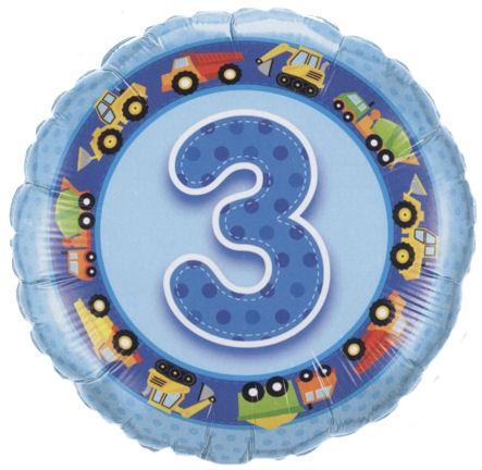 Folien-Rundballon '3. Geburtstag - Bagger', blau, ca. 45 cm Ø, verschiedene Ausf