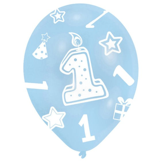 Latex-Rundballon 'Zahl 1', blautöne, im 6er Pack. mit Global-Druck